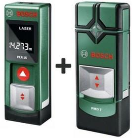 PLR 15 + PMD 7, Лазерный дальномер + Детектор для обнаружения металла, меди, электропроводки при сверлении