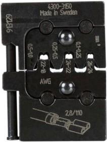 PM-4300-3150, Матрица для опрессовки клемных наконечников: 0.1 - 0.25 мм2, 0.25 - 0.5 мм2, 0.5 - 1.0 мм2