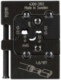 PM-4300-3151, Матрица для опрессовки клемных наконечников: 0.5 - 1.0 мм2, 1.5 - 2.5 мм2