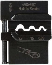 PM-4300-3137, Матрица для опрессовки неизолированных наконечников: 0.75 мм2, 1.5 мм2, 2.5 мм2