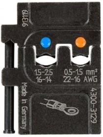 PM-4300-3129, Матрица для опрессовки изолированных наконечников: 0.5 - 1.5 мм2и 1.5 - 2.5 мм2
