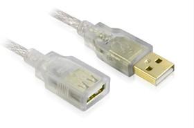 GCR-UEC21M-BD2S-1.8m, GCR Удлинитель USB 2.0 1.8m прозрачный, литой, 28/24 AWG, AM / AF, Premium, экран, армированный, мо