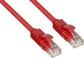 GCR-LNC04-3.0m, GCR Патч-корд прямой 3.0m UTP кат.5e, красный, позолоченные контакты, 24 AWG, литой, ethernet high s
