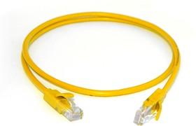 GCR-LNC02-0.2m, GCR Патч-корд прямой 0.2m UTP кат.5e, желтый, позолоченные контакты, 24 AWG, литой, ethernet high sp