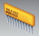Фото 1/3 4608X-101-222LF, Res Thick Film NET 2.2K Ohm 2% 1W ±100ppm/C BUS Conformal Coated 8-Pin SIP Pin Thru-Hole Bulk