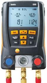 Фото 1/2 testo 550, Цифровой манометрический коллектор с Bluetooth,комплект с 2-мя зондами-зажимами, батарейками, кейсом