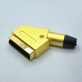 СКАРТ вилка на кабель металл gold