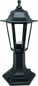 11-97 НТУ 06-60-001 ОСКАР1 ЧЕР Светильник-фонарь напольный черный 6-гранный прозрачное стекло