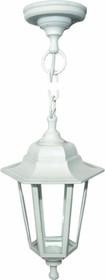 11-98 НСУ 06-60-001 АДЕЛЬ1 БЕЛ Светильник-фонарь подвесной белый 6-гранный прозрачное стекло