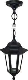 11-98 НСУ 06-60-001 АДЕЛЬ1 ЧЕР Светильник-фонарь подвесной черный 6-гранный прозрачное стекло