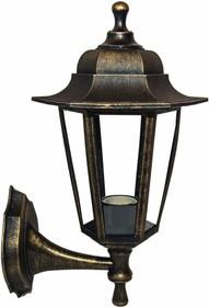 11-99 НБУ 06-60-001 ЛЕДА1 БР Светильник-фонарь настенный бронза 6-гранный прозрачное стекло
