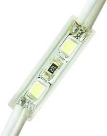 02-09 Модуль светодиодный, 12В, 0,5 Вт, 2*smd2835, 24Лм/д, IP65, 6500 К, 26*7*5мм, силиконовая заливка,ХБ