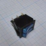 Фото 2/2 IRS-2101-1C3, Переключатель синий с подсветкой ON-OFF (15A 250VAC) DPST 6P