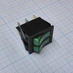 Фото 2/2 IRS-2101-1C3, Переключатель зеленый с подсветкой ON-OFF (15A 250VAC) DPST 6P