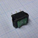 Фото 2/2 IRS-203-1B6-G, Переключатель с подсветкой ON-OFF-ON (15A 250VAC) 6P, зеленая клавиша