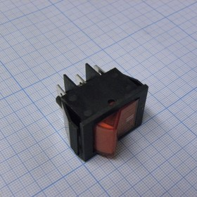 IRS-202-2B7, Переключатель красный с подсветкой ON-ON (15A 250VAC) DPDT 6P
