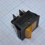 Фото 2/2 IRS-201-2B3 (желтый), Переключатель с подсветкой ON-OFF (15A 250VAC) DPST 4P