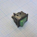 Фото 2/2 IRS-201-3C3 (зеленый), Переключатель с подсветкой ON-OFF (15A 250VAC) DPST 4P