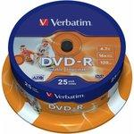 Фото 2/2 Verbatim 43538 DVD-R 4.7 GB 16x CB/25 Ink Print, Записываемый компакт-диск (упаковка из 25)