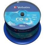 Оптический диск CD-R VERBATIM 700Мб 52x, 50шт., cake box [43351]
