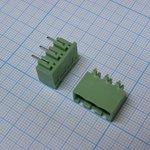 """Фото 2/2 2EDGRC-5.0-03P-14-00AH, Клеммник 3 конт. """"вилка"""" шаг 5.00 мм закрытый, прямой угол на плату, до 300В/15А, зеленый изол."""
