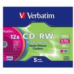 Фото 2/2 Оптический диск CD-RW VERBATIM 700Мб 12x, 5шт., slim case, разноцветные [43167]