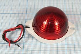 """Фото 1/2 Стробоскоп 45x35мм в корпусе """"Бекас"""", красный, частота 1имп/сек, питание 12В, стробоскоп\ 12В\кр\1сек\ 45x35m60\СБ-1\красн линза"""