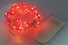 Фото 1/2 Гирлянда светодиодная красная,постоянного свечения, 3м, 30-ть сердец, 1.5Вх2(CR2032x2), 14612H СД гирлянда 3,0м\крx30\\\\ Сердце\1режим