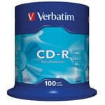 Оптический диск CD-R VERBATIM 700Мб 52x, 100шт., cake box [43411]