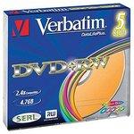 Оптический диск DVD+RW VERBATIM 4.7Гб 4x, 5шт., slim case, разноцветные [43297]