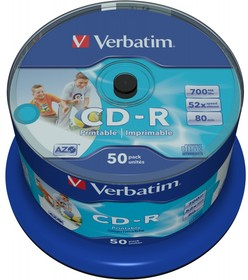 Фото 1/4 Диск CD-R Verbatim 700Mb 52x Cake Box (50шт) Printable (43438)