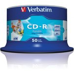 Фото 3/4 Диск CD-R Verbatim 700Mb 52x Cake Box (50шт) Printable (43438)