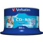 Фото 4/4 Диск CD-R Verbatim 700Mb 52x Cake Box (50шт) Printable (43438)