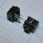 TRS 3.5 (mini jack) PJ317, Стерео гнездо на плату, черный