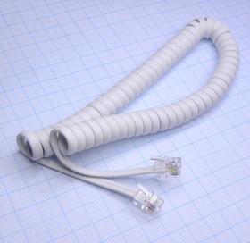 Шнур телефонный витой 2.0м белый (между трубкой и телефоном)