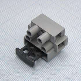 Фото 1/2 DG801-02P-11-00AH, Клеммник 2 конт. проходной (с держат. для предохранителя 5x20 мм), с отверст. для крепл. на панель,