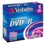 Фото 2/3 Оптический диск DVD-R VERBATIM 4.7Гб 16x, 5шт., jewel case [43519]
