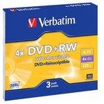 Фото 2/2 Оптический диск DVD+RW VERBATIM 4.7Гб 4x, 3шт., slim case [43636]