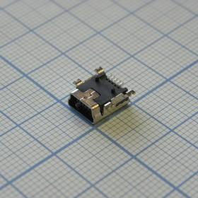 miniUSB A B-03 на плату, розетка угловая SMD
