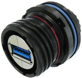 Фото 1/3 USB3FTV7ANF312, , USB3F TV USB Connector, Panel Mount, Socket 3.0 A IP68