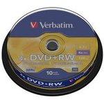 Фото 2/3 Оптический диск DVD+RW VERBATIM 4.7Гб 4x, 10шт., cake box [43488]