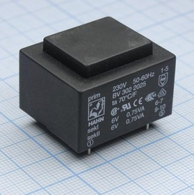 BVEI 302 2025, 1.5W 2x6V 2x125mA 230V