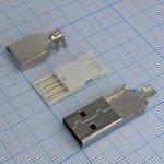 USB A 15 вилка на кабель, с кожухом L=36мм