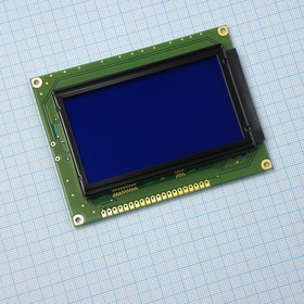 WG12864A-TMI-T#N, ЖКИ графич, 128х64, подсв. Бел, инд. Синий,Negative, 6 o'cl.
