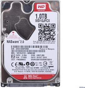 "WD10JFCX, Жёсткий диск WD Red™ WD10JFCX 1000ГБ 2,5"" IntelliPower 16MB (SATA-III) Mobile NAS"