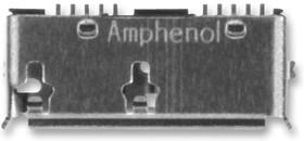 GSB343133HR, Разъем USB, Micro USB Типа B, USB 3.0, Гнездо, 10 вывод(-ов), Поверхностный Монтаж, Прямой Угол
