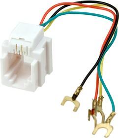 05-1111,розетка телефонная 6Р4С пласт. 623Е с отводами 82мм, (FD-6040)