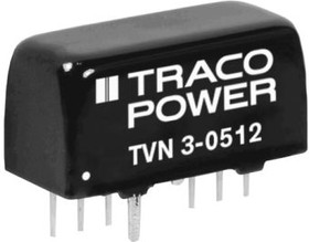 TVN 3-1211, TVN 3 3W Isolated DC-DC Converter Through Hole, Voltage in 9 18 V dc, Voltage out 5V dc