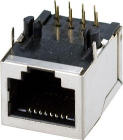 TP8P8C (RJ45) РОЗЕТКА CAT5E ДЛИННАЯ, TP8P8C (RJ45) розетка сетевая.на плату. экран.cat.5E, длинная