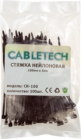 CK-100, стяжка 100х2.5 мм черная нейлон, уп.100 шт.